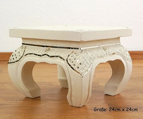 Asia Wohnstudio White Opium Table/Coffee Table/End Table, Glass Mosaic Look, Choose Size, Handmade in Thailand (24cmx24cm)