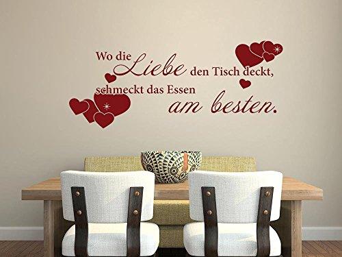 GRAZDesign Wandsticker Küche Wo die Liebe den Tisch deckt, Wanddeko Küche Esszimmer Spruch, Wandtattoo Küche Herzen / 73x30cm / 010 Weiss