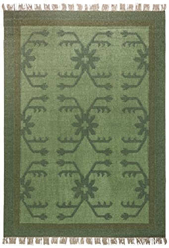 Morgenland Kelim Tapis Vintage AMAZONA 240 x 170 cm Vert Kilim camaïeu tissé à la main laine vierge Chambre D'Enfant Peut être utilisé des deux côtés