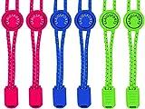 Variosports Schnellschnürsystem 3xPack elastische Schnürsenkel mit Schnellverschluss - Lock Shoe Laces - schleifenlose Schuhbänder - (pink-Navyblau-neongrün)
