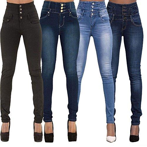Minetom Donna Casuale Alta Vita Elastico Skinny Jeans Pantaloni Stretti Eleganti Leggings Lunghi Matita Pantaloni in Denim Pants Blu scuro