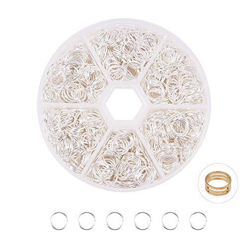 PandaHall Elite 100 Stk Eisen schließen, aber nicht gelötet Biegeringe für Schmuckherstellung, mit 1 Stück Jump Ring Tools, Schmuck Zubehör, Silber Farbe, 8x0,7 mm (Jump-ring-schmuck)