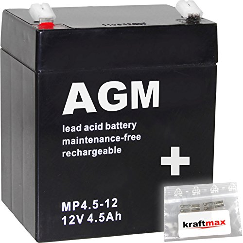 kraftmax 1x AGM 12V / 4,5Ah Blei-Akku - MP4,5-12 [ Faston 4,8 ] inkl. 2X Original Anschluß-Adapter