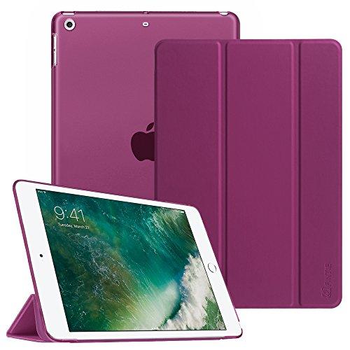 Fintie Nuevo iPad 2018 / 2017 Funda - Soporte Plegable Case Cover Trasera Transparente Durable Carcasa con Stand Función y Auto-Reposo / Activación para Apple New iPad 9.7 pulgada 2018 / 2017 Release Tablet, Purpura