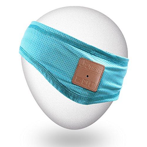 Qshell Slim Breathable Wireless Bluetooth Headband con Auriculares Auriculares para Gimnasio Fitness Ejercicio Jogging Running Caminar Senderismo Camping, Música Regalo para hombres Mujeres - Teal