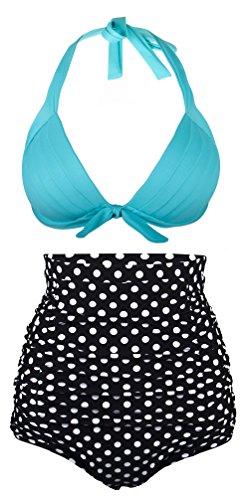 Aixy Damen 50s Vintage Rüschen Hohe Taille Badeanzug Hals Träger Bikinis Zwei Stück, Blau£¨Polka£©, EU 46-48Tag Size 3XL (Stück Bikini-badeanzug Zwei Tag)