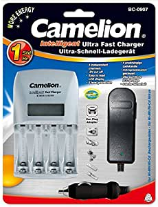 Camelion BC-0907 Intelligent Fast Charger for Battery with 12V Car Adapter