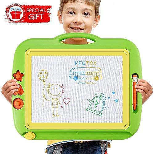 (U-HOME zaubertafeln für Kinder, 43 x 37cm Kinder zaubertafel Große Doodle Board Pad Bunt Zeichenbrett mit 3 Magnetische Stempel für Kinder 3 4 5 Jahre Alt)