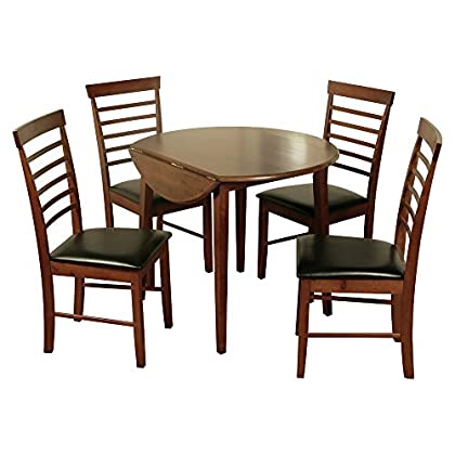 Kitchen Furniture Easy to Assemble Solid 2 Leaves Extendable Dining Table (Color: Dark Oak)