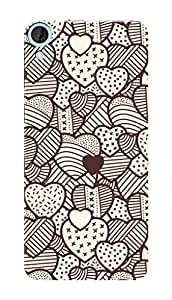 HTC Desire 826 Black Hard Printed Case Cover by Hachi - Hearts Pattern Design