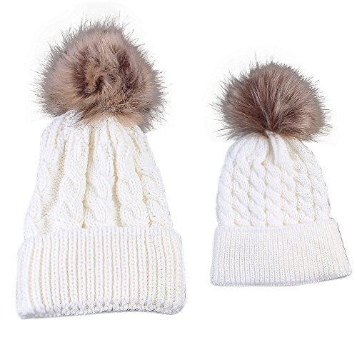 Gorros de punto Sannysis 2PCS gorro de invierno para madre y bebé (Blanco) f2262fb9b79
