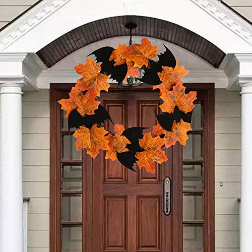 Sayala Guirnalda Decorativa de la Puerta de Halloween,Halloween Ornaments Thanksgiving Maple Leaf Wreath Decorativa de Halloween