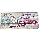 Dadeldo Holzschild Flip Flop Beach Design MDF 15x34cm Wand-Bild Kunstdruck (15x34cm)