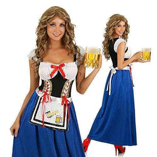 Deutsch bayerischen Bier Mädchen Kostüm Oktoberfest Kostüm Kellnerin Maid Phantasie Gothic Lolita Lady Dress@Blau_M_Oktoberfest Kostüme (Deutsches Bier Lady Kostüm)