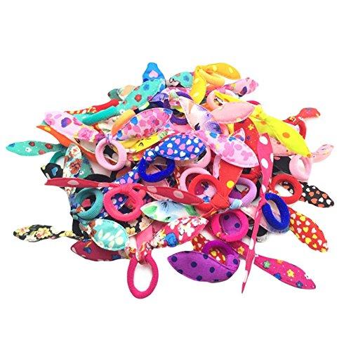 Preisvergleich Produktbild Leisial 100 Stück Farbige Niedliche Häschen-Ohren Gummibändern für Mädchen
