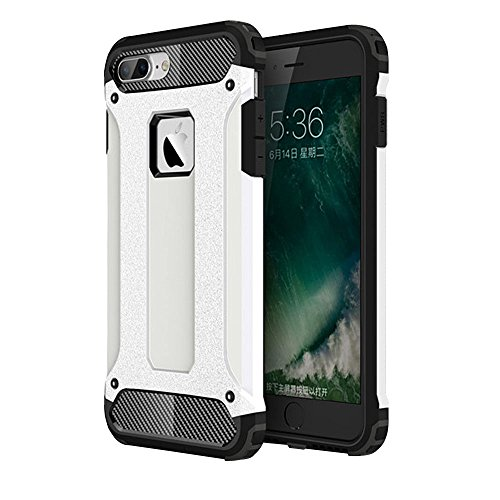 UKDANDANWEI iPhone 6 plus / 6S plus Hülle - Leathlux Silikon & PC 2 in 1 Hybrid Kombination Dual Layer Hintere Hülle Schutzhülle Stoßfest Bumper Rückdeckel Schale Tasche Cover Case mit Faltbar Stehen  Weiß