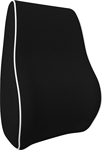 Bonmedico Lumbar Support Cushion, Back Cushion For Best Lower Back Support, Memory Foam Lumbar Support Pillow, Back Support Pillow For Car, Home or Office, Lumbar Pillow In Black, Small