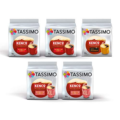 Tassimo Coffee Kenco Sortenpackung Kaffeekapseln - Kenco Americano Smooth/Americano Grande/reine kolumbianische - 5 Packungen (80 Portionen)