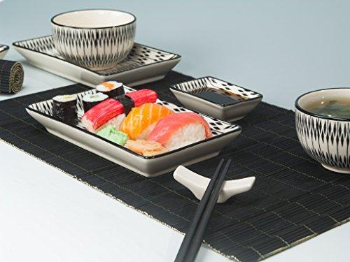 'Sushi Set 'Asaka 12teilig con mesa negra Matte