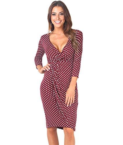 6487-WIN-14: Punkte Kreuzender V-Ausschnitt Jersey Kleid (Weinrot, (Billig Plus Size Kleider Sexy)