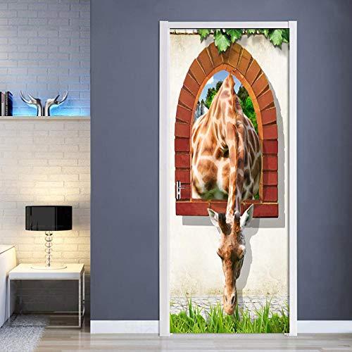 3D türaufkleber bad - 3D Backsteinmauer Außerhalb Der Giraffe Tür Aufkleber PVC selbstklebende Wohnzimmer Tür Wandbild Wandaufkleber Poster Fototapete - DIY Druck Vinyl Abnehmbare
