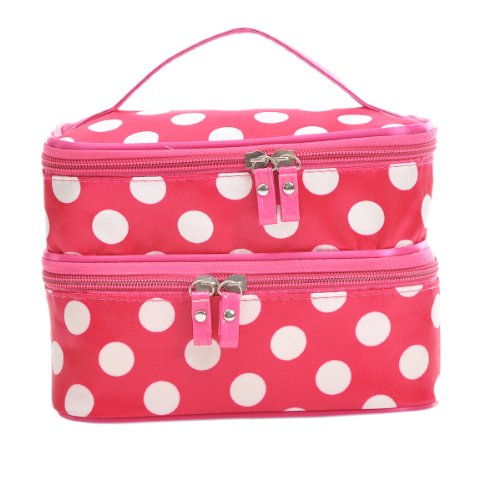 Housweety Dots Pattern Double Layer case Travel Toiletry Cosmetic Makeup Bag With Mirror(black or red)((7 7/8\\