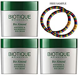Biotique Botanicals Almond Under Eye Cream-16g - (Pack of 3) - Free Expedited Shipping via DHL Express - Delivery in 3-7 days - with Free Product Sample