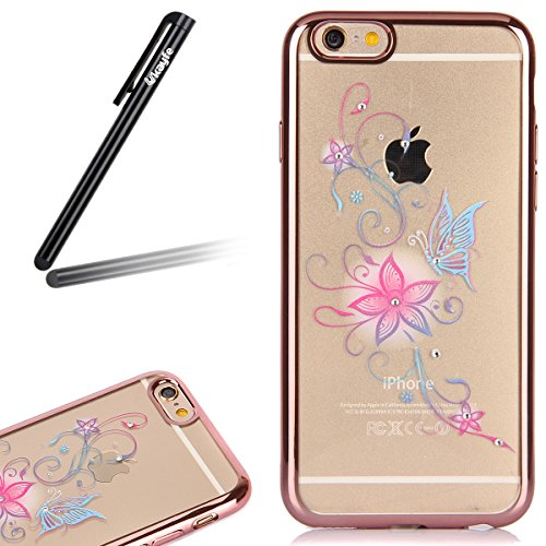 Coque Housse Etui pour iPhone 6s, iPhone 6 Coque en Silicone avec Bling Diamant Or Rose, iPhone 6S Placage de diamant Or Rose Coque Rose Gold Etui Housse, iPhone 6s Silicone Transparent Case Soft Gel  Rose Gold-Lilas pourpre