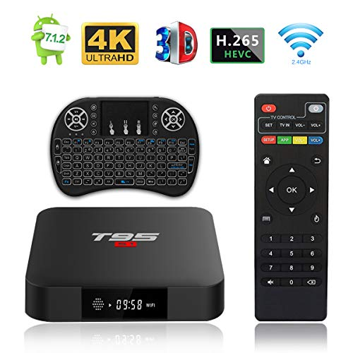 T95 S1 Androide 7.1 TV Box con In Controluce Wireless Mini Tastiera Amlogic S905W 2GB RAM 16GB ROM H.265 WiFi 4K HDMI Media Player