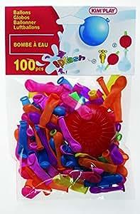 Kim'Play - 242 - Farces et Attrapes - 100 Ballons Bombe à Eau  +  Pompe  - Assortis