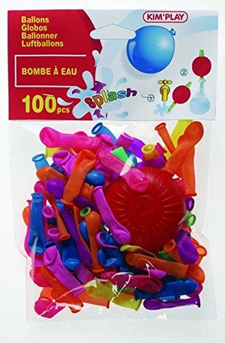 Kim'Play 242 - Farces et Attrapes - 100 Ballons Bombe à Eau + Pompe - Assortis