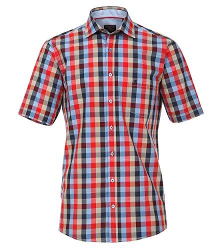 Casa Moda - Comfort Fit - Herren Freizeit 1/2-Arm-Hemd mit Kent Kragen in Rot oder Gelb kariert (972728000) Rot (400)