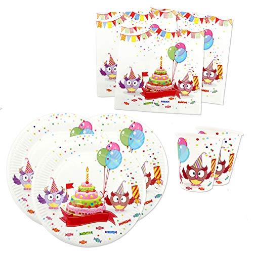 Papierdrachen Party Set mit 36 Teilen - Motiv Funny Owls - Partygeschirr mit Bechern, Servietten und Tellern aus Pappe für ()