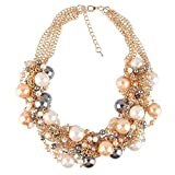 Beauty7-Two Broke Grils Collier Statement Halskette-Caroline Perle Perlen Kette-Necklace Damen Lang Necklace Chain Pullover Ketten-Braun
