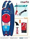 Coasto PB-CODY95 Stand up Paddle - Colchoneta Hinchable térmica para Gemelos Oddyssee 9'5, 290 x 81 x 12 cm, Color Azul, Rojo y Blanco