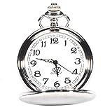NICERIO Vintage Tasche, Armbanduhr Unisex Männer Frauen Quarzuhr mit Halskette Kette mechanische Taschenuhr für Geschenk Silber