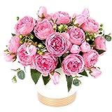 XONOR 3 Bouquets de Fleurs artificielles en Soie Pivoine Artificielle Fausse Fleur glorieuse pour la décoration de Maison Nuptiale de Noce, 5 fourchettes, 9 têtes (Rose)...