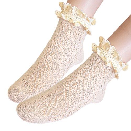 JHosiery Damen Jahrgang Rüsche Baumwolle Stiefelsocken (2 Paar tan)