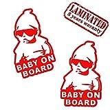 Skino 2 Stück Vinyl Aufkleber Autoaufkleber Stickers Baby on Board Kind Mit Sonnenbrille Sicherheit Auto Moto Motorrad Fahrrad Fenster Tür Tuning B 169