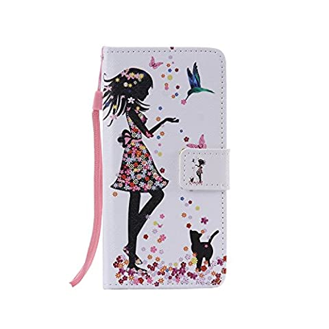 Meet de Folio Leather téléphones portables Housse Case sac pour LG G5,Case Cover en cuir pour LG G5 étui en cuir PU Handy Wallet / Tongues Wallet / Case Wallet / Leather Case / avec support Fonction - Fille et le chat