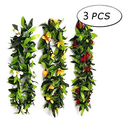 Junenoma 3 STÜCKE Hawaiian Leis Blumen Halskette Tropical Luau Hawaii für Party Supplies, Beach Party Dekorationen, Hochzeit, Birthday Party Favors,Mix,3PCS