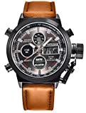 Kitcone Analogue Digital Multi Colour Dial Leather Brown Strap Mens & Boys Watch