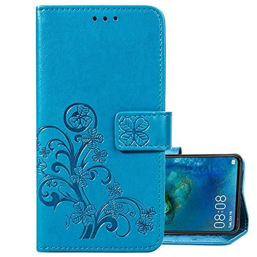 LEMORRY Handyhülle für LEAGOO S8 Pro Hüllen Tasche Ledertasche Beutel Magnetisch Stehen Cover mit Kartenschlitz Weich Silikon Schale SchutzHülle für LEAGOO S8 Pro, Glücks-Klee Prägung (Blau)