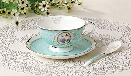 Teetasse aus hochwertigem Porzellan inkl. Untertasse und Löffel – Türkis – Vintage – Landhausstil – Barock - 3