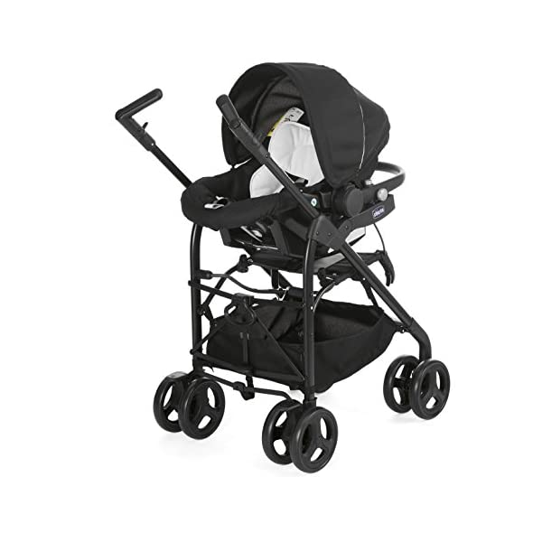 Chicco Trio-System Sprint Black with Car Kit, Black Night Chicco Sprint is a lightweight sports car with a large, comfortable seat / bed With baby shell synthesis 0+ incl. 5-point-belt, kiva with 3-point-belt incl. kit car, rain cover Incl. exit bag with changing mat, footmuff, comfort handles (360 ° ergonomic twist-push handles), hanging basket 5