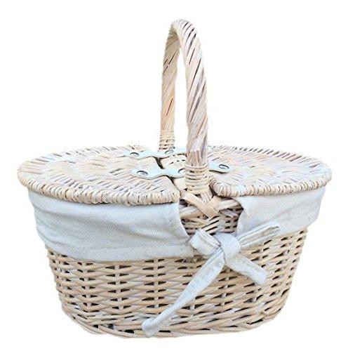 Rot behindern Kinder White Wash Gefüttert Picknick-Korb braun mit Deckel, Höhe 15cm x Breite 29cm x Tiefe 22cm
