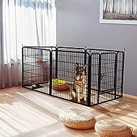 Yaheetech Welpenlaufstall Tierlaufstall für Kleintiere wie Hunde Katzen Kaninchen, aus 6 Panlen, Metall, mit Tür