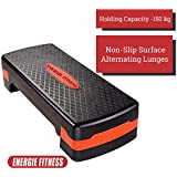 Energie Fitness Adjustable Aerobic Stepper - Black Color - 2 Height Level 10 - 15 Cm