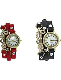 Briota New Fashion Cream Dial Color With Red & Black Color Strap Analogue Watch For Girls & Women Pack Of 2