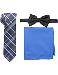 Nick Graham Men's Solid Neck Tie with Large Plaid Bow Tie and Solid Pocket Square